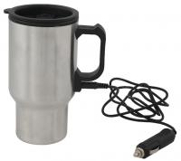Car Charger Stainless Steel Double Walled Mug with Insulated Lid.