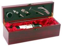 Wine Bottle Bar Set. Includes Waiters Friend- Wine Stopper- Thermometer- Drip Collar and Wine Pourer