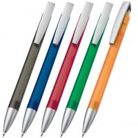 Frosted plastic ballpoint pen / ball pen with silver grip and clip