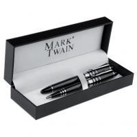 Mark Twain 2 piece metal pen set- with roller ball and ballpoint pen in a metal gift box with plaque