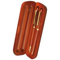 Wooden pen set with a brass finish. Ballpoint pen and fountain pen gift set.