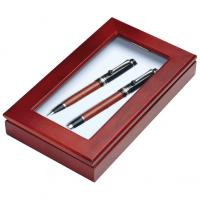 Fountain pen and ball pen set with black and silver trim in a wooden box