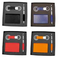Business card holder key ring and a ballpoint pen gift set