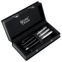 Mark Twain 3 piece pen set with a fountain pen- ballpoint pen and roller ball in a designer black leatherette case
