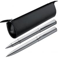 Metal balloint pen and roller ball pen set in a zipper caseS