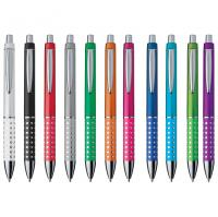 Plastic pen with sparkling grip zone