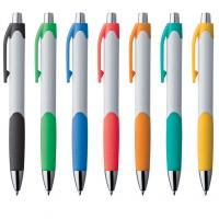 Plastic white ballpoint pen / ball pen with colour grip and clip