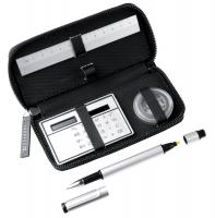 Office stationery set. Includes aluminium ballpoint pen and ruler- solar calculator and paper clips in a zip case