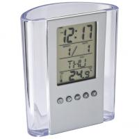 CrisMa transparent acrylic pen pot with time- alarm- date- day and temperature