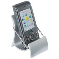 Mobile phone chair in silver plastic with metal insert