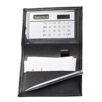 CrisMa business card holder with solar powered calculator and pen