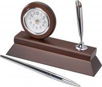 Wooden desk clock with pen holder and chromed ballpoint pen