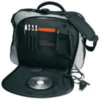 CrisMa laptop bag with circular window section on the cover and shoulder strap.