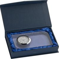 Glass desk clock packed in a blue gift box