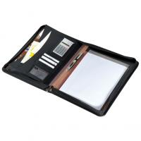 CrisMa zip A4 folder with notepad- compartments- calculator and metal plaque