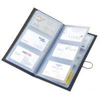Micro-fibre business card holder with stainless steel hook and elastic band closure