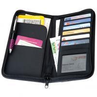 CrisMa zip around travel wallet with quilt pattern and metal plaque