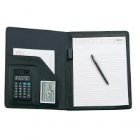 A4 PU folder made of PU with calculator business card holder and A4 note pad