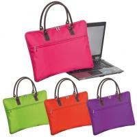 Nylon padded laptop bag in trendy colours with carry handles and a front zipper compartment