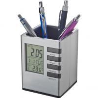 Plastic pen pot with clock- date- temperature and alarm clock