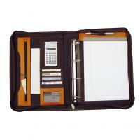 CrisMa zip around bonded leather folder with A4 note pad- calculator- ring binder insert and carry handle