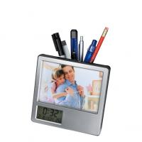 Plastic picture frame with pen holder and clock- temp- alarm- and date