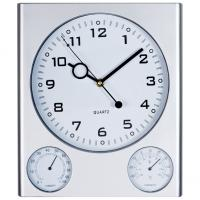White 3-in-1 plastic wall clock with hygrometer and thermometer