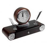 Imitation wood desk set with a drawer- 2 pen holders- clock- hygrometer and thermometer