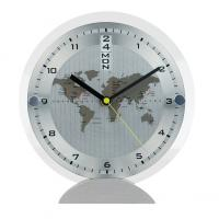 CrisMa metal desk clock with day and date display and glass front panel- world map and time zone