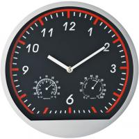 Wall clock in a fresh sporty design with thermometer and hygrometer