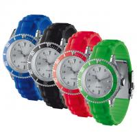 water resistant analogue wrist watch with adjustable strap.