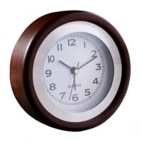 Desk clock with a wooden frame and alarm function