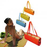 Fold up beach mat with carry straps