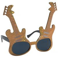 Metallic gold guitar shaped novelty sunglasses