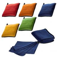 Fleece blanket that folds up into a cuddly zip-around pillow or a seat cushion