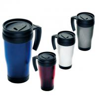 400 ml plastic double-walled thermal travel mug with spill proof cover