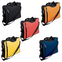 Conference bag with shoulder strap and several storage compartments.