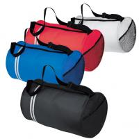 Polyester tube sports bag / duffel bag with double stripe