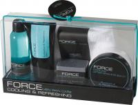 FORCE - cosmetic series for men consists of a shower gel- body lotion- after shave balm- soap and a hand towel