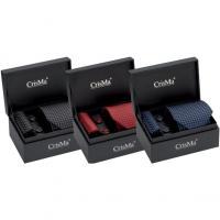 CrisMa diamond mens gift set with matching silk tie- pocket handkerchief and cuff links