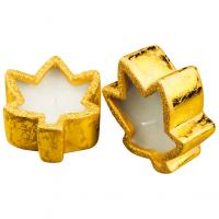 2 maple leaf shaped candles
