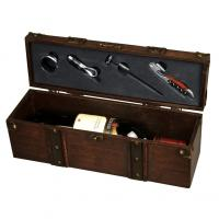 Wine treasure chest for one bottle of wine. Includes waiter's knife- wine thermometer- pourer and drip stopper.