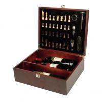 Large wine set for up to 3 bottles with integrated chess game. Includes waiter's knife- bottle stopper- drip stopper- thermometer and pourer