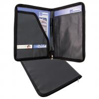 Eco friendly Up-cycled zip around A4 folder with compartments and 2 business card holders
