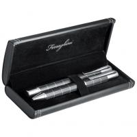 Black and silver trimmed metal ballpoint pen and roller ball pen set