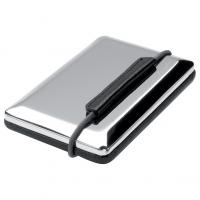 Ferraghini metal and PU business card holder with individual slots for each business card.