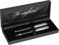 Ballpoint pen and roller ball pen set in a matching black gift box