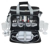 Summit Picnic 600D Polyester Shoulder Bag with Handle- Shoulder Strap- side Netting and Cooler Bag Compartment