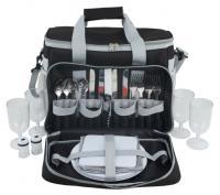 Summit Picnic 600D Polyester Shoulder Bag with Handle- Shoulder Strap- side Netting and Cooler Bag Compartment