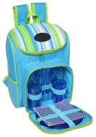 Striped 600D Polyester Backpack with Handle- Side Pocket and Cooler Bag Compartment